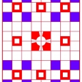 Sm BR SQ on RED Blu Grid